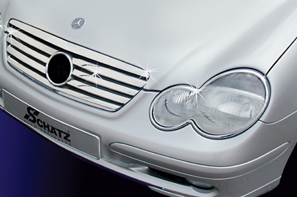 Chrome strips for standard front grille
