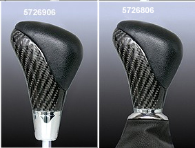 Gear change lever Carbon/black leather