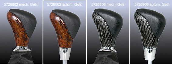 Gear change lever precious wood/black leather
